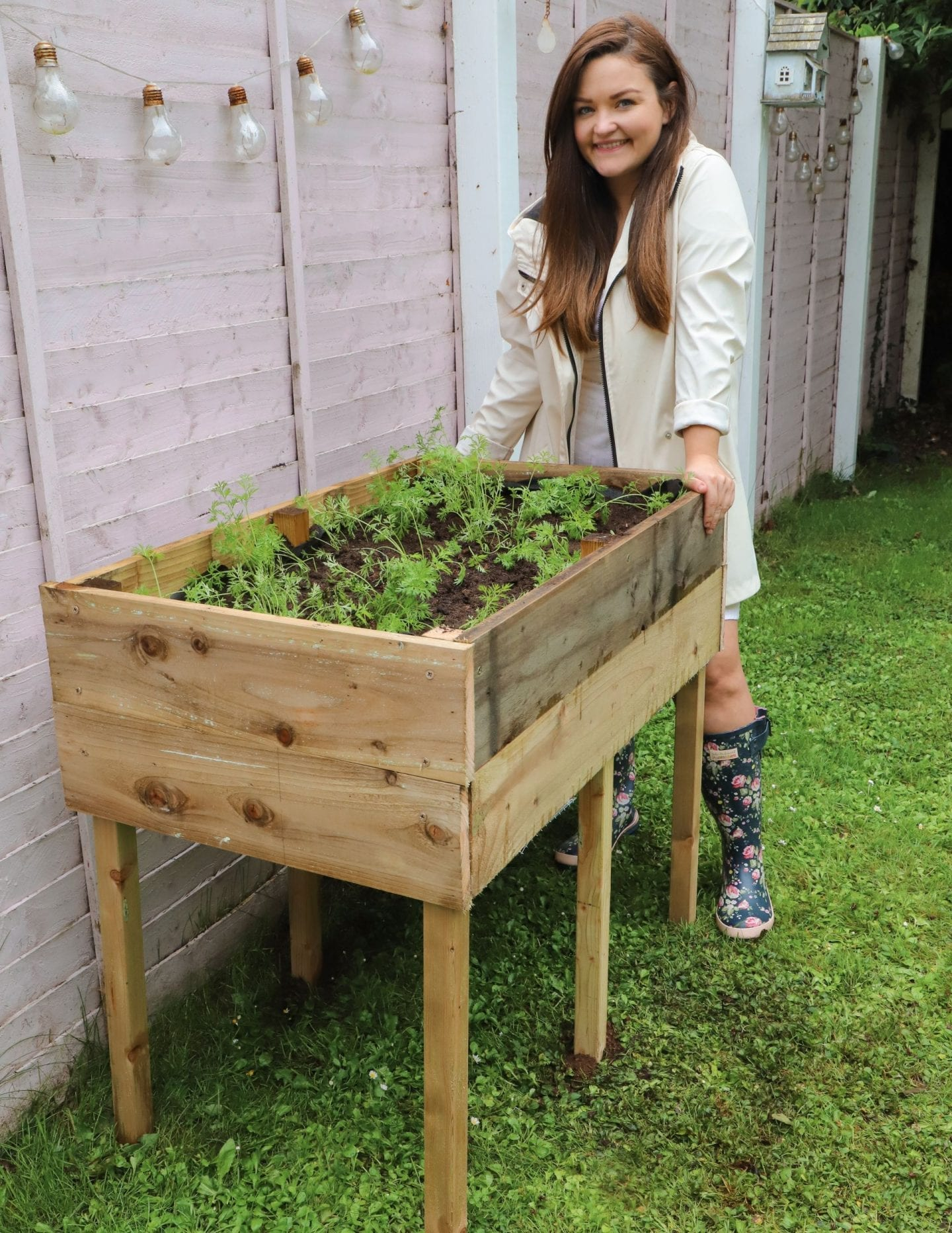 How to make a raised garden bed with legs! - Dainty Dress ...